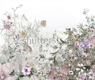 Fotomural Acuarela de hojas y flores, sobre fondo blanco.