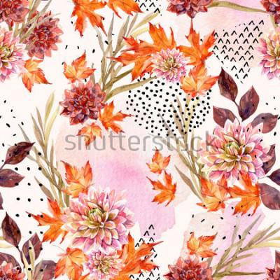 Fotomural Acuarela de otoño patrón floral sin fisuras. Fondo con flores de dalia, hojas, formas geométricas llenas de textura doodle. Ejemplo dibujado mano del arte de la acuarela para el diseño de la caída