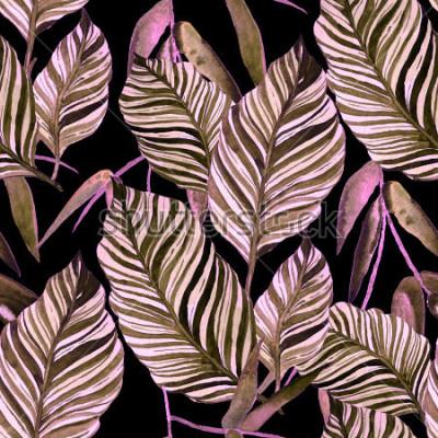 Fotomural Acuarela de patrones sin fisuras con hojas. Textura de la vendimia