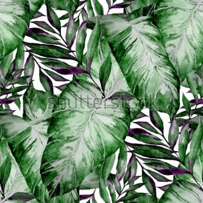 Fotomural Acuarela de patrones sin fisuras con hojas tropicales: palmeras, monstera, maracuyá. Bonito estampado completo con plantas exóticas dibujadas a mano. Diseño botánico de trajes de baño.