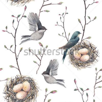 Fotomural Acuarela de patrones sin fisuras con nido, pájaros y ramitas de árboles. Vector dibujado a mano fondo de primavera. Papel pintado vintage con golondrina y huevos.