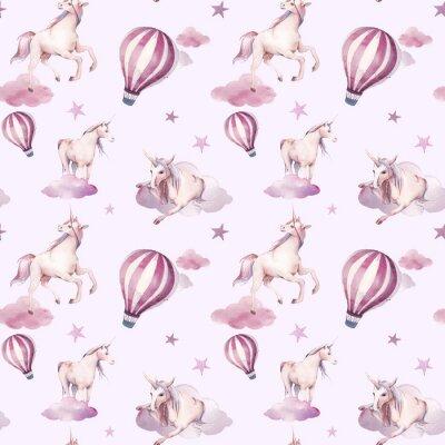 Fotomural Acuarela de patrones sin fisuras con volar unicornio, nubes, estrellas. Diseño de fondo de pantalla de estilo bebé niña. Fondo de cuento de hadas dibujado a mano repitiendo