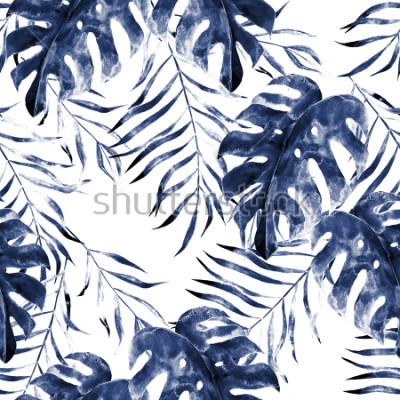 Fotomural Acuarela de patrones sin fisuras exóticos, hojas verdes tropicales, ilustración botánica de verano sobre fondo blanco