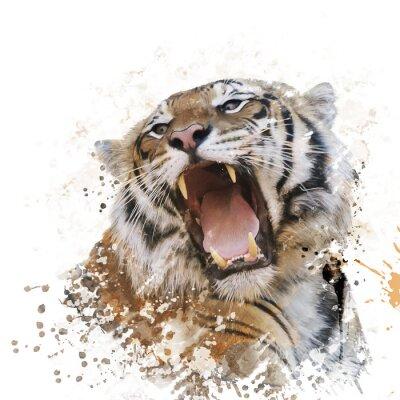 Fotomural Acuarela del retrato del tigre