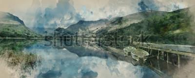Fotomural Acuarela digital de barcos panorámicos de paisaje panorámico en el lago con embarcadero contra fondo de cordillera