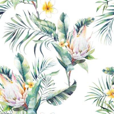 Fotomural Acuarela exótica de patrones sin fisuras. Repetición de textura con plantas, ramo tropical: ramas de palmera, protea, hojas de plátano, flor de frangipani. Diseño de papel pintado de verano