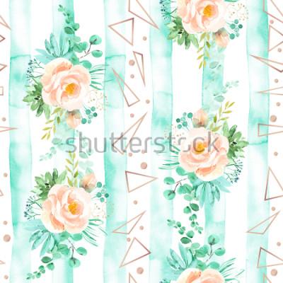 Fotomural Acuarela floral de patrones sin fisuras en suaves colores rosa menta. Fondo geométrico con ramos de flores. Rosas, suculentas, hojas de eucalipto, oro rosa, ilustración.