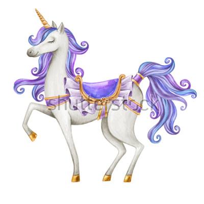 Fotomural Acuarela ilustración de unicornio, criatura de cuento de hadas, pelo azul oscuro, mítico animal clip art, aislado sobre fondo blanco