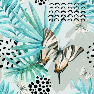 Fotomural Acuarela ilustración gráfica: mariposa exótica, hojas tropicales, elementos de doodle en el fondo del grunge.