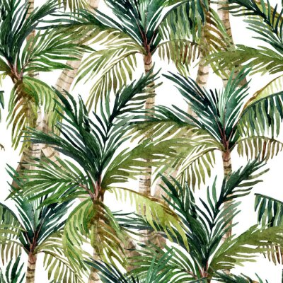 Fotomural Acuarela palmera patrón transparente