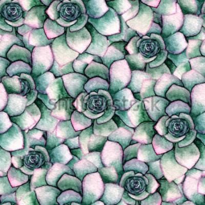 Fotomural Acuarela patrón botánico inconsútil con suculentas