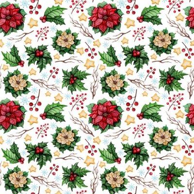 Fotomural Acuarela Patrón sin fisuras de Navidad con Poinsettia, Estrellas y Holly