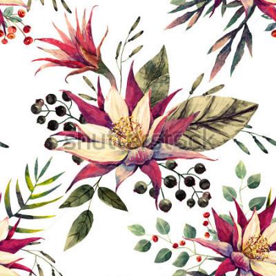 Fotomural Acuarela patrón tropical, flor de cactus, bayas blancas y negras, hojas de palmera, color retro