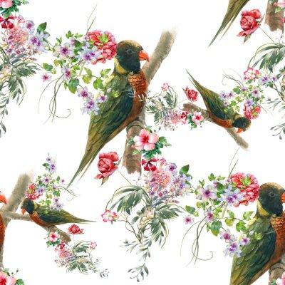 Fotomural Acuarela pintura con aves y flores, patrón transparente sobre fondo blanco