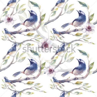 Fotomural Acuarela primavera patrón transparente con pájaros, ramas de árboles, flores y hojas. Plantilla botánica pintada a mano papel pintado con los pájaros azules en el fondo blanco. Textura natural de