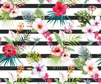 Fotomural Acuarela tropical patrón floral