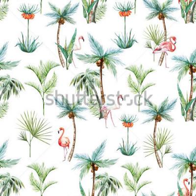 Fotomural Acuarela tropical patrón, palmeras y flamencos fondo blanco