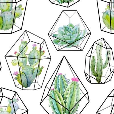 Fotomural Acuarela vector cactus patrón