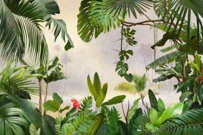 Fotomural adorable background design with tropical palm and banana leaves, can be used as background, wallpaper