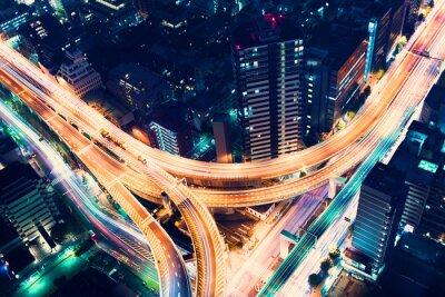 Fotomural Aerial-view highway junction at night in Tokyo, Japan