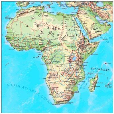 Fotomural África física mapa continente