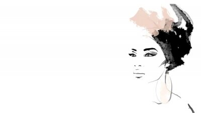 Fotomural African American illustration for fashion banner. Trendy woman model background. Afro hair style girl