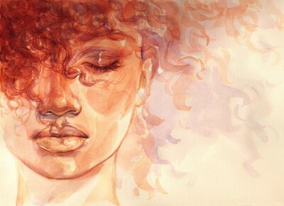 Fotomural african american woman. illustration. watercolor painting