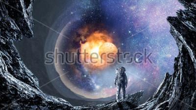 Fotomural Agujero espacial y astronauta. Técnica mixta