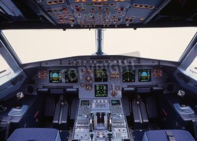 Fotomural airplane cockpit of a modern passenger jet