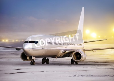 Fotomural airport and white plane at non-flying weather, winter time