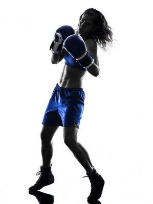 Fotomural aislado Mujer boxeador boxeo kickboxing silueta
