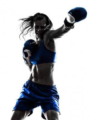 Fotomural aislado mujer del boxeador del boxeo kickboxing silueta