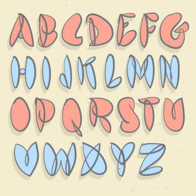 Fotomural Alfabeto Dibujado A Mano. Mano cepillada Unforced Bubble Alphabet.