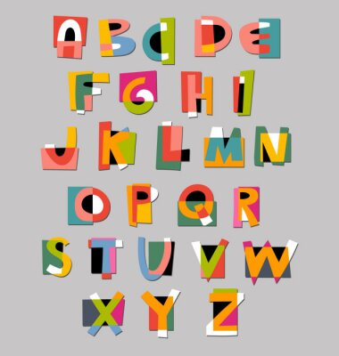 Fotomural Alfabeto fuente abstracta. Papel estilo de recorte