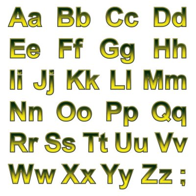 Fotomural Alfabeto pseudo 3d letras