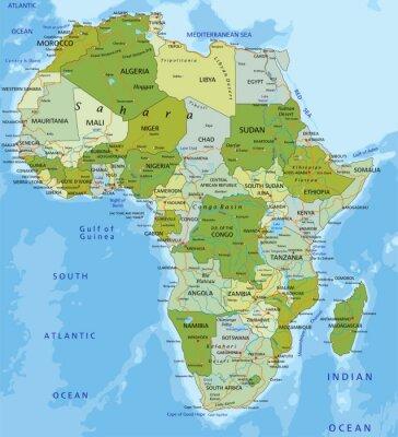 Fotomural Altamente detallado mapa político editable. África.