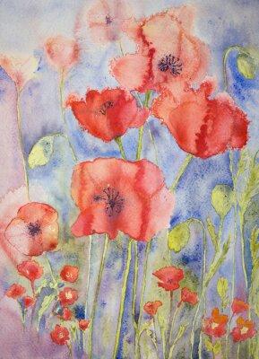 Fotomural Amapolas en colores brillantes alegres. La técnica de pinchado da un efecto de enfoque suave debido a la rugosidad superficial alterada del papel.