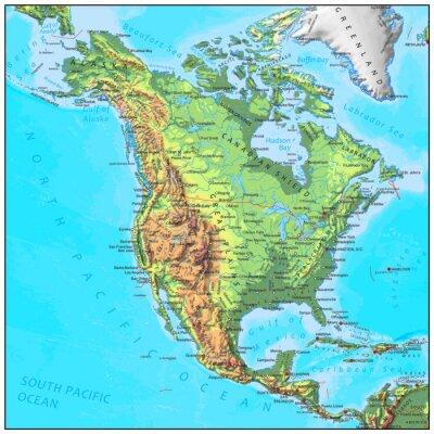 Fotomural América del Norte mapa del continente física