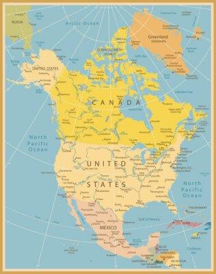 Fotomural América del Norte Mapa detallado Vintage Colors
