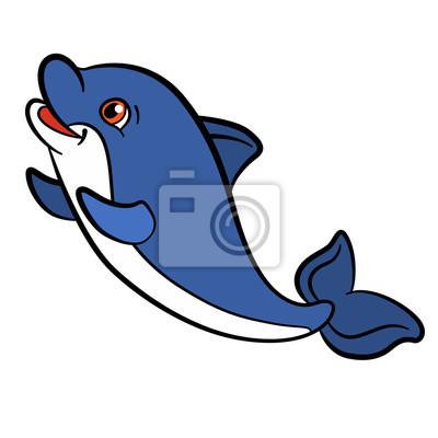 Animales de dibujos animados para niños. pequeño delfín lindo ...