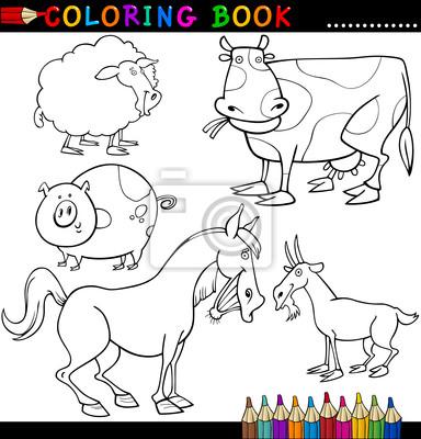 Animales de granja para colorear libro o página fotomural ...