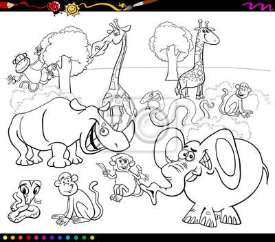 Animales de safari para colorear fotomural • fotomurales colorante ...