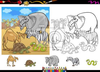 Animales De Safari Para Colorear Juego Página Fotomural
