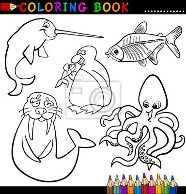 Animales para colorear libro o página fotomural • fotomurales pulpo ...