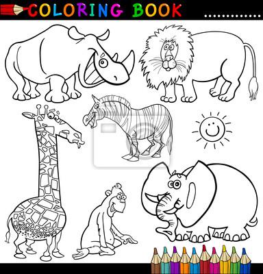 Animales para colorear libro o página fotomural • fotomurales ...