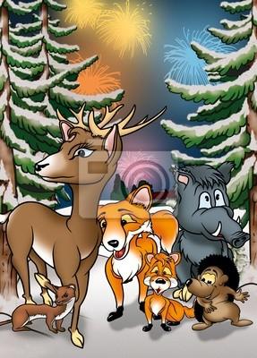 Animales Y Fuegos Artificiales Ilustracion De Fondo De Dibujos