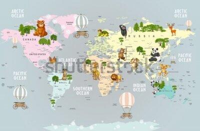 Fotomural Animals world map for kids wallpaper design