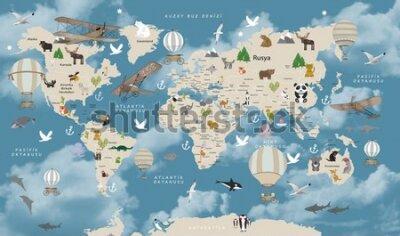Fotomural Animals world map for kids wallpaper design Turkish articles