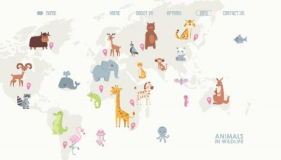 Fotomural Animals world map vector illustration. Landing page for children online educational platform. Cute cartoon animals in wildlife. Geography concept for kids. Fauna of different continents.