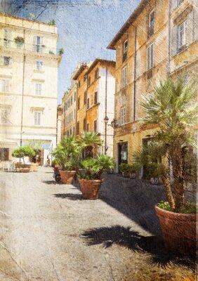 Fotomural antigua calle de Roma. Italia. Imagen en estilo retro artística.